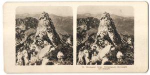 Stereo-Fotografie unbekannter Fotograf, Ansicht Kampenwand, Chiemgauer Berge, Mittelgipfel vom Ostgipfel