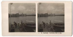 Stereo-Fotografie unbekannter Fotograf, Ansicht Kopenhagen, Frederiksborg Slottet fra Söen