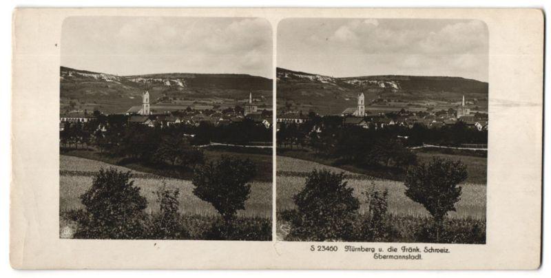 Stereo-Fotografie unbekannter Fotograf, Ansicht Ebermannstadt, Panorama, Fränk. Schweiz