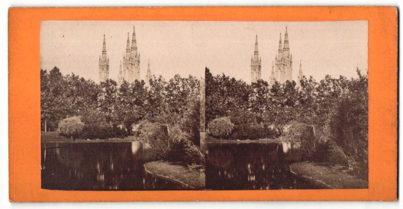 Stereo-Fotografie unbekannter Fotograf, Ansicht Wiesbaden, Evang. Kirche