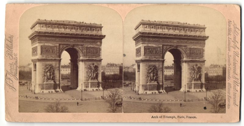 Stereo-Fotografie J. F. Jarvis, Washington, DC, Ansicht Paris, Arch of Triumph, rückseitig weiteres Stereo-Foto