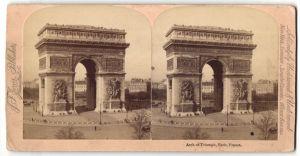 Stereo-Fotografie J. F. Jarvis, Washington, DC, Ansicht Paris, Arch of Triumph, rückseitig weiteres Stereo-Foto