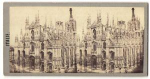 Stereo-Fotografie unbekannter Fotograf, Ansicht Mailand, Motiv vom Dom