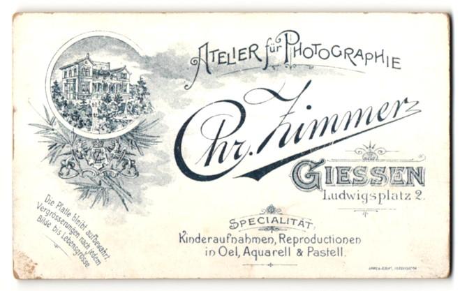 Fotografie Chr. Zimmer, Giessen, rückseitige Ansicht Giessen, Atelier Ludwigsplatz 2, vorderseitig Portrait