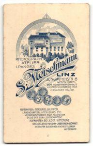 Fotografie S. Fleischmann, Linz, rückseitige Ansicht Linz, Atelier Jungwirthstr. 8, vorderseitig Portrait