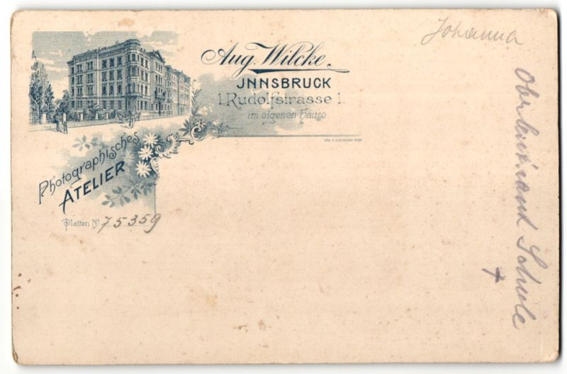 Fotografie Aug. Wilcke, Innsbruck, rückseitige Ansicht Innsbruck, Atelier Rudolfstrasse 1, vorderseitig Portrait