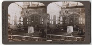 Stereo-Fotografie H. C. White, Chicago, Ansicht Damascus, Salon im Harem einem Mohammedaners