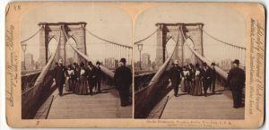Stereo-Fotografie Strohmeyer & Weyman, New York, Ansicht New York, Brooklyn Bridge