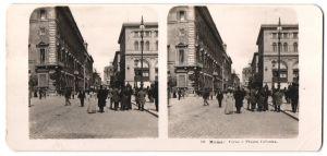 Stereo-Fotografie N.P.G., Berlin-Steglitz, Ansicht Roma, Corso e Piazza Colonna