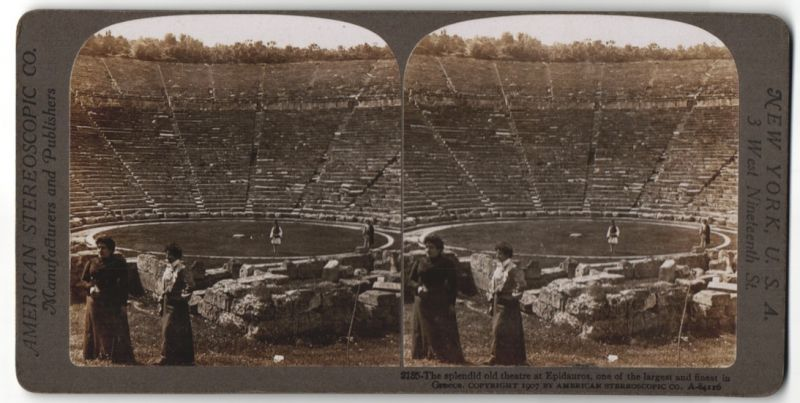 Stereo-Fotografie American Stereoscopic Co., Ansicht Epidauros, antikes Theater