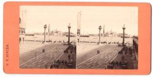 Stereo-Fotografie unbekannter Fotograf, Ansicht Venezia / Venedig, Piazetta e S. Giorgio
