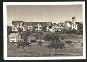 AK Grüningen, Teilansicht mit Häuser und Kirche