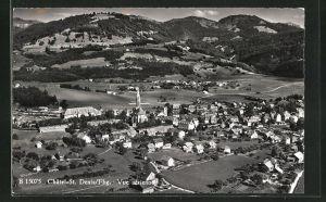 AK Chatel-St. Denis, Ortsansicht mit Kirche vom Flugzeug aus gesehen