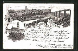 Lithographie Fribourg, Ville avec le Pont suspendu, la Cathédrale, Viaduc de Grandfey