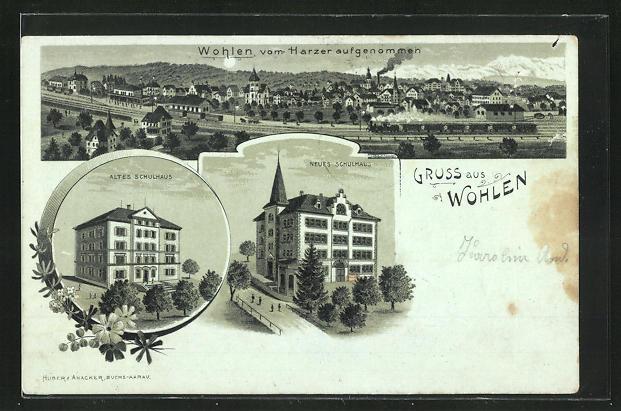 Lithographie Wohlen, Ortsansicht vom Harzer aufgenommen, altes Schulhaus, neues Schulhaus