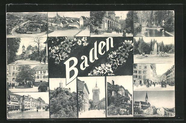 AK Baden, verschiedene Ortsansichten