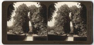 Stereo-Fotografie H. C. White Co., New York, Ansicht Schloss Frederiksborg, Parkpartie, Dänemark