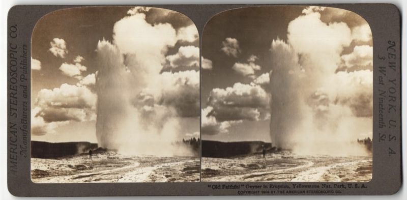 Stereo-Fotografie American Stereoscopic Co., Ansicht Yellowstone Nat. Park, Old Faithful Geysir