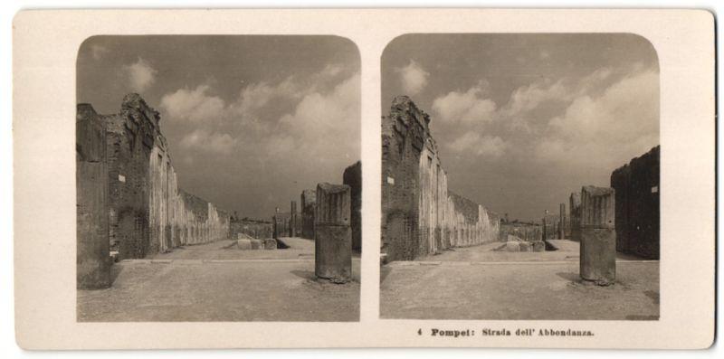 Stereo-Fotografie N.P.G., Berlin-Steglitz, Ansicht Pompei, Strada dell' Abbondanza
