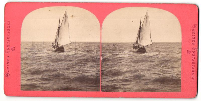 Stereo-Fotografie unbekannter Fotograf, Ansicht Segelschiff, Fischerboot
