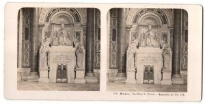 Stereo-Fotografie N.P.G., Berlin-Steglitz, Ansicht Roma, Basilica S. Pietro, Mausoleo di Pio VII.