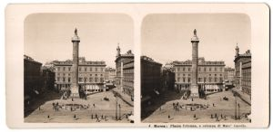 Stereo-Fotografie N.P.G., Berlin-Steglitz, Ansicht Roma, Piazza Colonna, e colonna di Marc' Aurelio