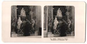 Stereo-Fotografie unbekannter Fotograf, Ansicht Roma, Chiesa di S. Pietro, Monumento ad Alessandro VII.