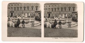 Stereo-Fotografie N.P.G., Berlin-Steglitz, Ansicht Roma, Piazza Colonna, Fontana