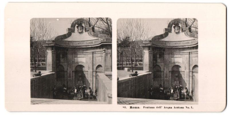 Stereo-Fotografie unbekannter Fotograf, Ansicht Roma, Fontana dell' Acqua Acetosa, Teilansicht mit Händlern