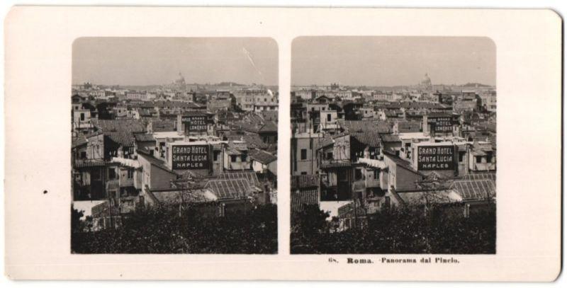 Stereo-Fotografie unbekannter Fotograf, Ansicht Roma, Panorama dal Pincio