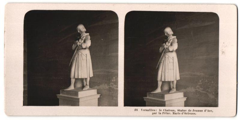Stereo-Fotografie N.P.G., Berlin-Steglitz, Ansicht Versailles, le Chateau, Statue de Jeanne d'Arc, par la Prince