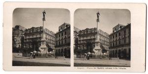 Stereo-Fotografie N.P.G., Berlin-Steglitz, Ansicht Napoli / Neapel, Piazza dei Martiri, colonna della Vittoria