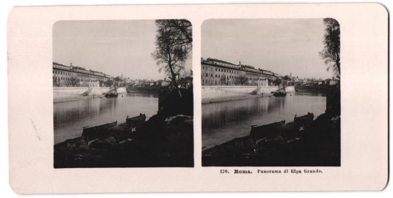 Stereo-Fotografie unbekannter Fotograf, Ansicht Roma, Panorama di Ripa Grande
