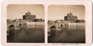 Stereo-Fotografie N.P.G., Berlin-Steglitz, Ansicht Roma, Prospettiva sull Ponte S. Angelo