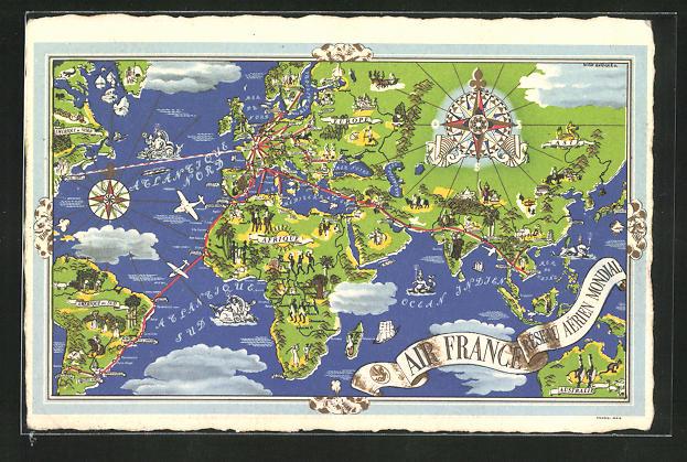 AK Tourismus-Werbung der Air France, Fluglinien der Air France auf einer Weltkarte