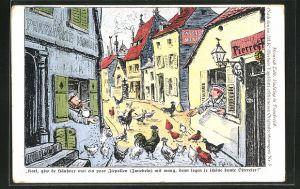 Künstler-AK Heinrich Zille: Soldaten füttern aus den Fenstern ihrer Unterkünfte die Hühner