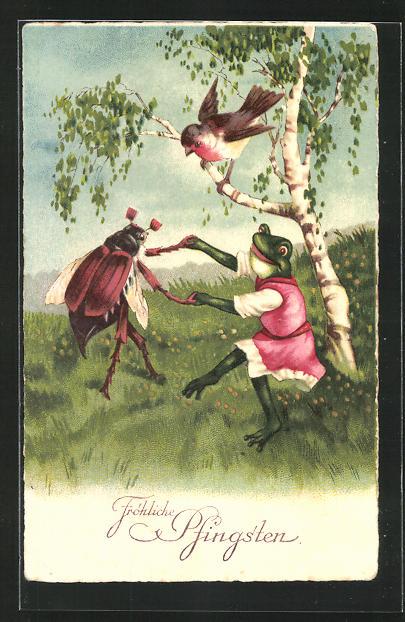 AK Pfingstgruss, Frosch und Maikäfer beim ausgelassenen Tanz
