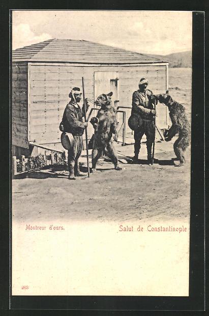 AK Constantinople, Montreur d'ours, Türken mit ihren Tanzbären
