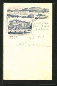 Lithographie Geneve, Grand Hotel Beau-Rivage von Mayer & Kunz