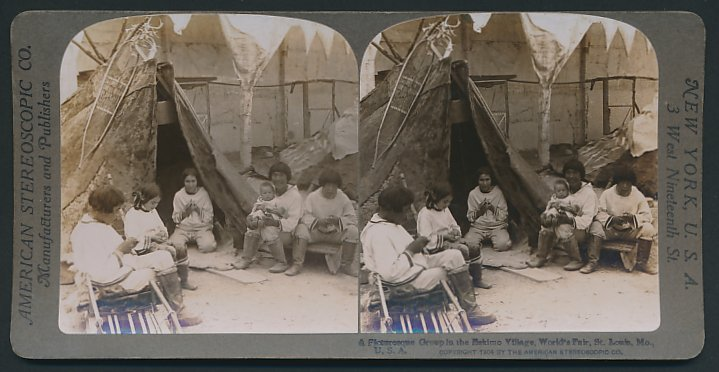 Stereo-Fotografie American Stereoscopic Co., St. Louis, MO, Worlds Frair, Eskimo Village, Inuit