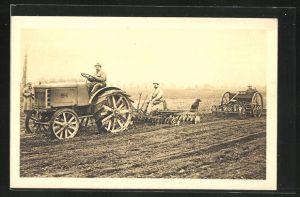 AK Landwirte mit Fiat Traktor beim Eggen