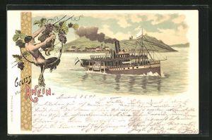 Lithographie Rhein-Dampfer in voller Fahrt, Faun bei der Weinlese