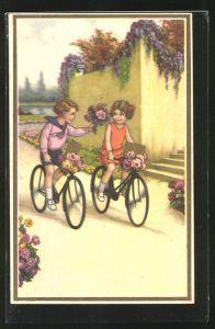 AK Kleiner Kavalier auf dem Fahrrad überreicht seiner Freundin einen Blumenstrauss