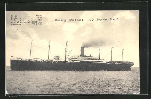 AK Passagierschiff President Grant, Hamburg-Amerika-Linie
