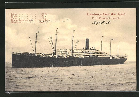 AK Passagierschiff Präsident Lincoln, Hamburg-Amerika Linie