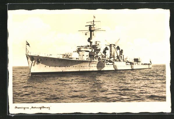 AK Kreuzer Königsberg auf hoher See