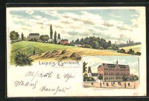 Lithographie Leipzig-Eutritzsch, Ansicht vom Rathaus, Blick über Felder zum Ort