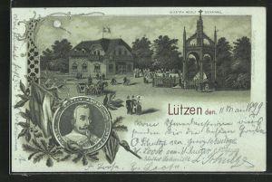 Mondschein-Lithographie Lützen, Gustav Adolf Denkmal, Gustav Adolf, König von Schweden