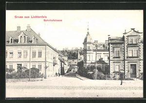 AK Lichtenfels, Bahnhofstrasse mit Passanten
