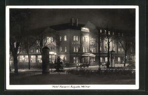 AK Weimar, Hotel Kaiserin Augusta bei Nacht
